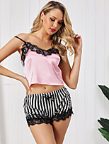 cheap -Women's Lace Suits Nightwear Striped Embroidered Blushing Pink S M L