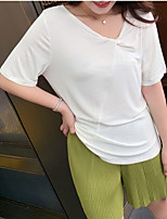 cheap -Women's T-shirt Solid Colored Knotted Round Neck Tops Loose Cotton Basic Basic Top White Black Purple
