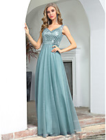 cheap -A-Line Glittering Empire Wedding Guest Formal Evening Dress V Neck Sleeveless Floor Length Tulle Sequined with Sequin 2020