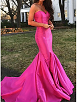 cheap -Mermaid / Trumpet Elegant Reformation Amante Engagement Formal Evening Dress Sweetheart Neckline Sleeveless Sweep / Brush Train Satin with Sleek 2020