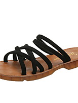 cheap -Women's Sandals Roman Shoes / Gladiator Sandals Summer Flat Heel Open Toe Daily Elastic Fabric Black / Beige