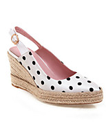 cheap -Women's Loafers & Slip-Ons Summer Wedge Heel Round Toe Daily Polka Dot Microfiber White / Black