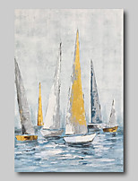 cheap -Oil Painting Hand Painted - Abstract Abstract Landscape Comtemporary Modern Rolled Canvas Sailboats