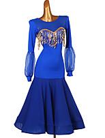 cheap -Ballroom Dance Dress Split Joint Paillette Women's Training Long Sleeve Chinlon Chiffon