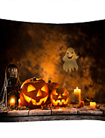 cheap -Old Wooden Table Soul lantern Pumpkin Candle Classic Theme Wall Decor 100% Polyester Contemporary Wall Art Wall Tapestries Decoration