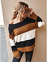 cheap -Women's Color Block Pullover Long Sleeve Sweater Cardigans Boat Neck Fall Winter Black Gray