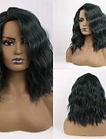 cheap -Synthetic Wig Body Wave Layered Haircut Neat Bang Wig Medium Length Black / Green Synthetic Hair 16 inch Women's Fashionable Design Cute Women Green