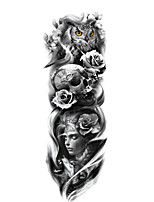 cheap -1 Sheet Full Arm Temporary Tattoo Tattoo Designs For Men Konsait Extra Temporary Tattoo Black tattoo Body Stickers for Man Women TQ81-100