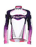 cheap -TASDAN Women's Long Sleeve Cycling Jersey Polyester White Patchwork Gradient Funny Bike Jersey Top Mountain Bike MTB Road Bike Cycling Breathable Quick Dry Reflective Strips Sports Clothing Apparel