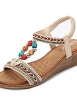cheap -Women's Sandals Summer Wedge Heel Open Toe Daily PU Almond / Black / Blue