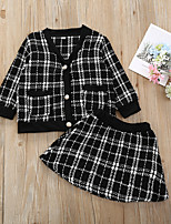 cheap -Toddler Girls' Active Basic Black & White Check Long Sleeve Regular Regular Clothing Set Black
