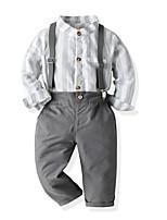 cheap -Kids Toddler Boys' Basic Birthday Party Party & Evening Striped Geometric Long Sleeve Regular Regular Clothing Set Gray