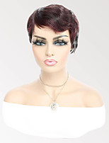 cheap -Remy Human Hair Wig Short Wavy Pixie Cut Burgundy Fashion Capless Brazilian Hair Women's Dark Wine