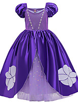 cheap -Princess Sofia Dress Flower Girl Dress Girls' Movie Cosplay A-Line Slip Purple Dress Halloween Children's Day Masquerade Polyester