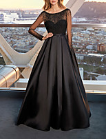 cheap -A-Line Elegant Beautiful Back Wedding Guest Prom Dress Jewel Neck Long Sleeve Floor Length Satin Tulle with Pleats Beading 2020 / Illusion Sleeve