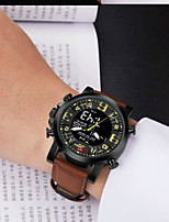 cheap -KT Men's Sport Watch Quartz Sporty Army Water Resistant / Waterproof Genuine Leather Black / Brown Analog - Digital - Black Brown Black / White / Calendar / date / day / Chronograph / Noctilucent