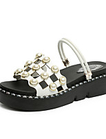 cheap -Women's Sandals Summer Wedge Heel Open Toe Daily Outdoor Leather White / Black