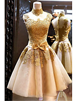 cheap -A-Line Elegant Luxurious Engagement Prom Dress High Neck Sleeveless Knee Length Tulle with Sash / Ribbon Bow(s) Appliques 2020