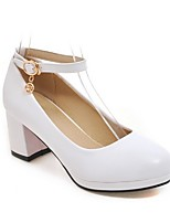 cheap -Women's Heels Summer Block Heel Round Toe Daily Solid Colored PU White / Black / Red