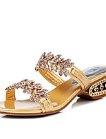 cheap -Women's Sandals Summer Block Heel Open Toe Daily Solid Colored PU Black / Gold / Silver