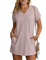 cheap -Women's T Shirt Dress Tee Dress Short Mini Dress - Short Sleeve Solid Color Summer V Neck Casual 2020 Blushing Pink Green S M L XL