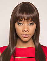 cheap -Remy Human Hair Wig Short Silky Straight Side Part Brown Simple Fashionable Design Easy to Carry Capless Brazilian Hair Burmese Hair Women's Medium Brown#4 20 inch