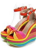 cheap -Women's Sandals Summer Wedge Heel Round Toe Daily PU Blue / Orange