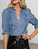 cheap -Women's Shirt Solid Colored Ruffle V Neck Tops Puff Sleeve Cotton Elegant Basic Top Blue