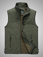 cheap -Men's Hiking Vest / Gilet Winter Outdoor Windproof Breathable Warm Multi Pocket Top Camping / Hiking Hunting Fishing Black / Army Green / Khaki / Dark Blue