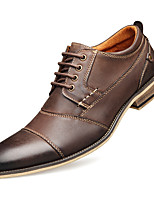 cheap -Men's Summer / Fall Casual / Preppy Daily Outdoor Oxfords Faux Leather Non-slipping Wear Proof Black / Brown / Coffee