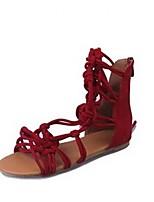 cheap -Women's Sandals Roman Shoes / Gladiator Sandals Summer Flat Heel Open Toe Daily PU Black / Red / Khaki