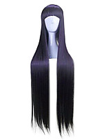 cheap -Synthetic Wig Straight Neat Bang Wig Long Black / Purple Synthetic Hair 28 inch Women's Anime Black Purple