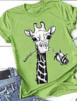 cheap -Women's T-shirt Animal Round Neck Tops Wine Blue Green
