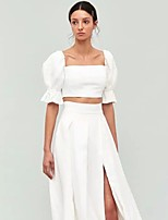cheap -Women's Blouse Solid Colored Square Neck Tops Puff Sleeve Slim Cotton Summer White