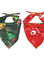 cheap -Dog Cat Bandanas & Hats Dog Bandana Dog Bibs Scarf Cartoon Floral Botanical Party Cute Christmas Party Dog Clothes Adjustable Costume Fabric L