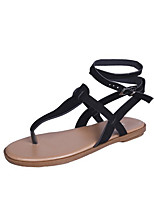 cheap -Women's Sandals Roman Shoes / Gladiator Sandals Summer Flat Heel Open Toe Daily PU Black / Khaki
