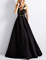 cheap -A-Line Elegant Floral Engagement Formal Evening Dress Illusion Neck Sleeveless Floor Length Satin with Sash / Ribbon Appliques 2020