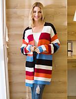 cheap -Women's Color Block Cardigan Long Sleeve Sweater Cardigans V Neck Fall Winter Red