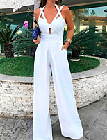 cheap -Jumpsuits Minimalist Sexy Wedding Guest Prom Dress V Neck Sleeveless Floor Length Satin with Sleek 2020