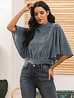 cheap -Women's Blouse Solid Colored Round Neck Tops Batwing Sleeve Basic Basic Top Royal Blue Brown Gray