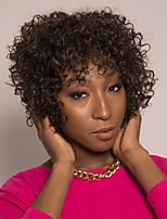 cheap -Remy Human Hair Wig Short Loose Curl Pixie Cut Asymmetrical Brown Easy to Carry Women Best Quality Capless Brazilian Hair Burmese Hair Women's Dark Brown#2 12 inch