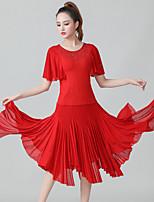 cheap -Latin Dance Skirts Cascading Ruffles Ruching Split Joint Women's Training Performance Short Sleeve Natural Polyester