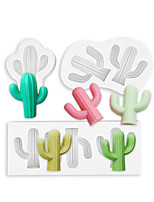 cheap -Set of 3 3D Cactus Silicone Mold Ice Cube Mold Chocolate Cake Decoration Fondant Mold Manual DIY