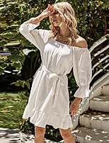 cheap -Women's Sundress Short Mini Dress - 3/4 Length Sleeve Solid Color Summer Off Shoulder Casual Elegant 2020 White S M L XL