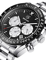 cheap -BENYAR Men's Sport Watch Quartz Modern Style Stylish Casual Water Resistant / Waterproof Stainless Steel Silicone Analog - Black / Silver White+Silver Black / Calendar / date / day