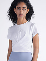 cheap -Women's Tee / T-shirt Short Sleeves Bowknot Crop Top Sport Athleisure T Shirt Lightweight Breathable Soft Yoga Everyday Use Daily Casual