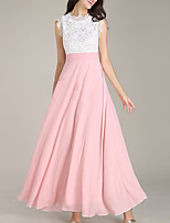 cheap -A-Line Color Block Elegant Wedding Guest Prom Dress Jewel Neck Sleeveless Floor Length Chiffon with Lace Insert 2020