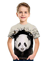 cheap -Kids Boys' Basic Panda Animal Print Short Sleeve Tee Gray