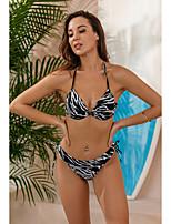 cheap -Women's Sexy Briefs Bikini Tankini Swimwear Swimsuit - Striped Lace up S M L White