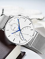cheap -DOM Men's Sport Watch Quartz Modern Style Sporty Casual Water Resistant / Waterproof Stainless Steel Leather Analog - Black / Silver White+Silver Black / Calendar / date / day / Noctilucent